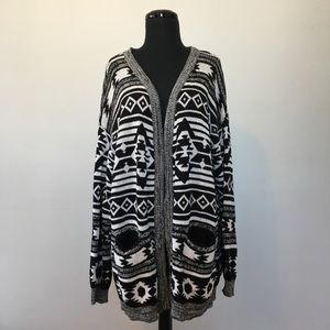 H&M Divided Tribal Open Cardigan, L